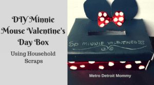 Recreate this super cute Minnie Mouse Valentine's Day card box using household scraps