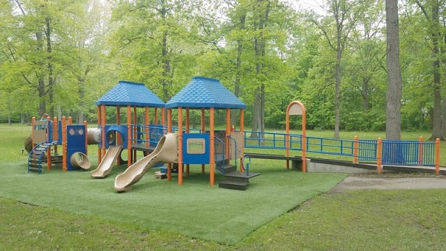 toddler playground at Raintree Park in Troy