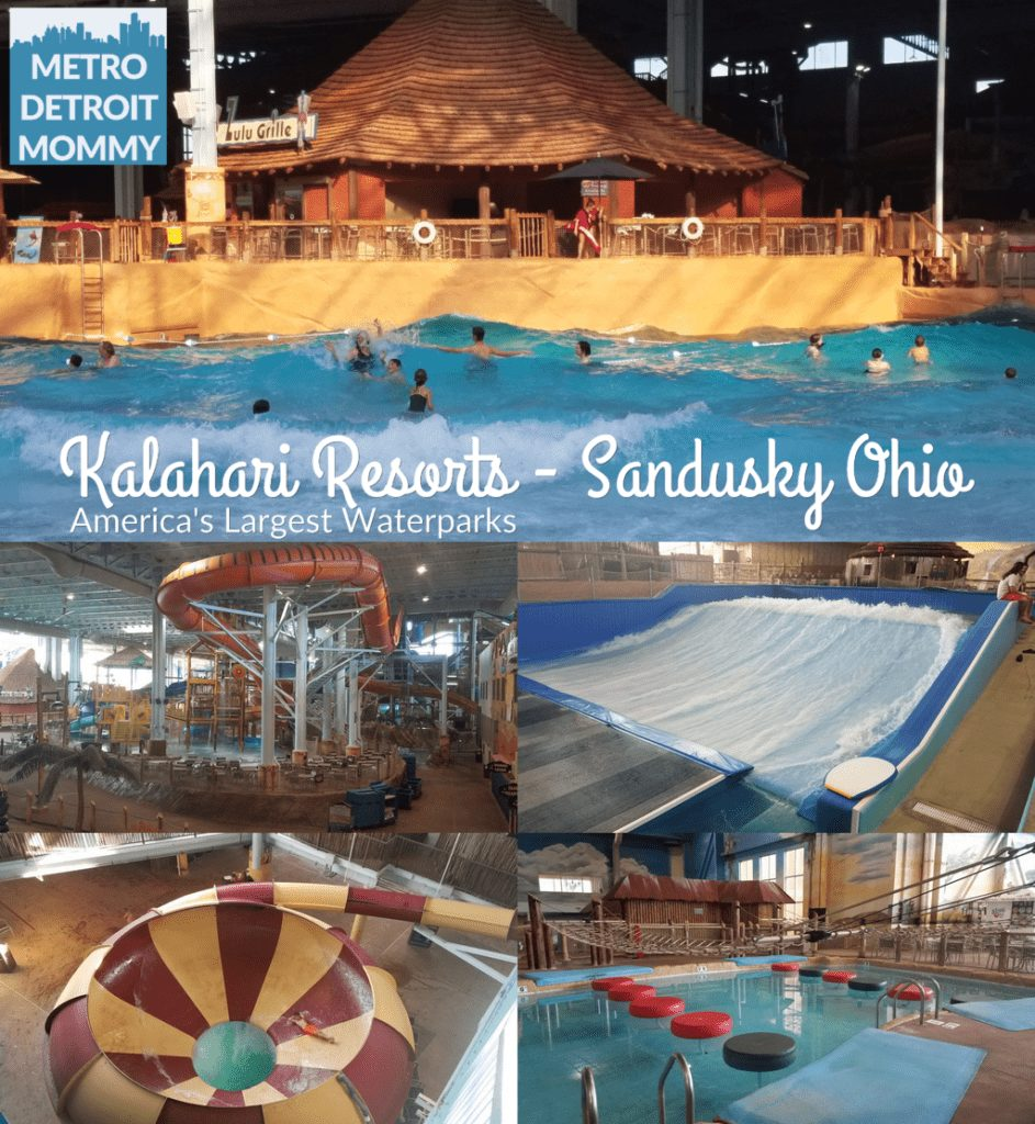 Kalahari Resorts in Sandusky, Ohio is the nations second largest indoor waterpark (Kalahari Pocono Mountain resort is the largest) at 173,000 square feet. This amazing space includes a wave pool, lazy river, toddler splash pools, basketball, FlowRider, indoor/outdoor spas, water tree fort with a dumping bucket, and lots of slides and raft rides. Kalahari ohio Kalahari Sandsusky