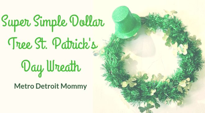 Create this super simple Dollar Tree Wreath for St. Patrick's Day Using just 3 items!