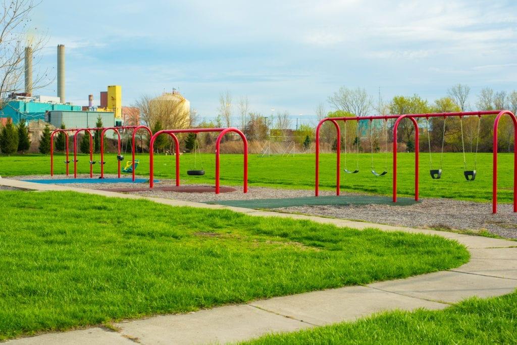 swings at Delray Memorial Park in Detroit Michigan