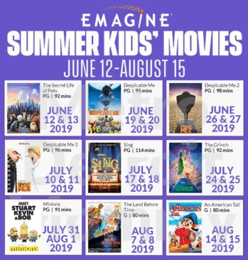 2019 Emagine Summer Kids' Movies for Just $2