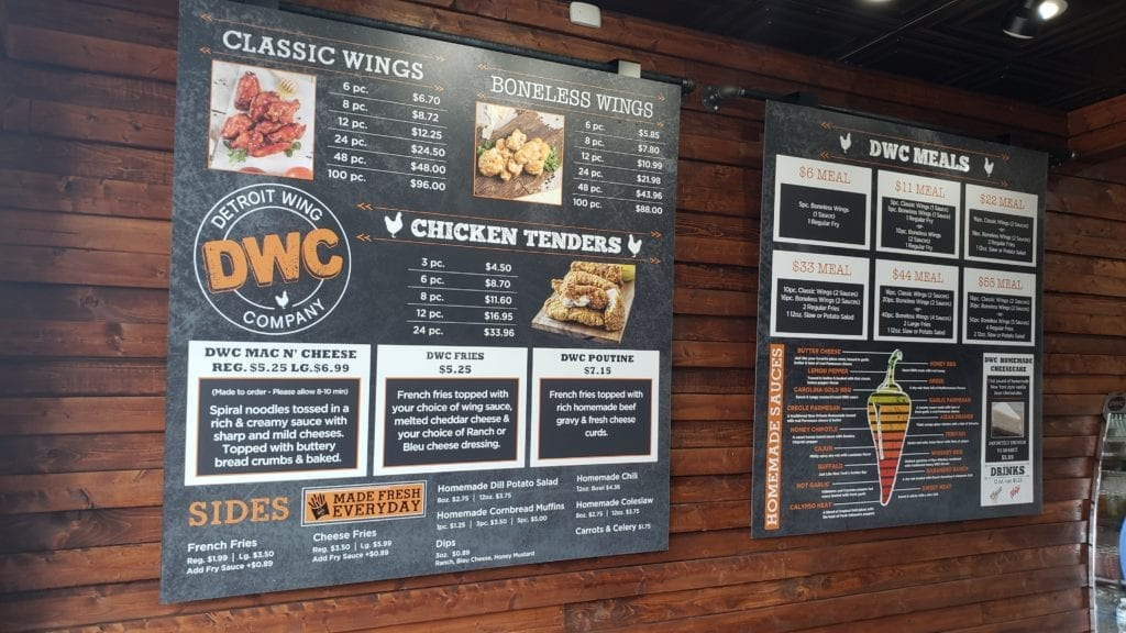 Detroit Wing Company Menu
