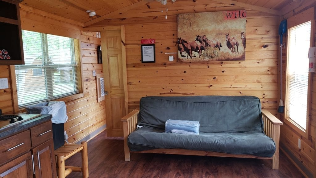 Living Space in the Deluxe Cabin