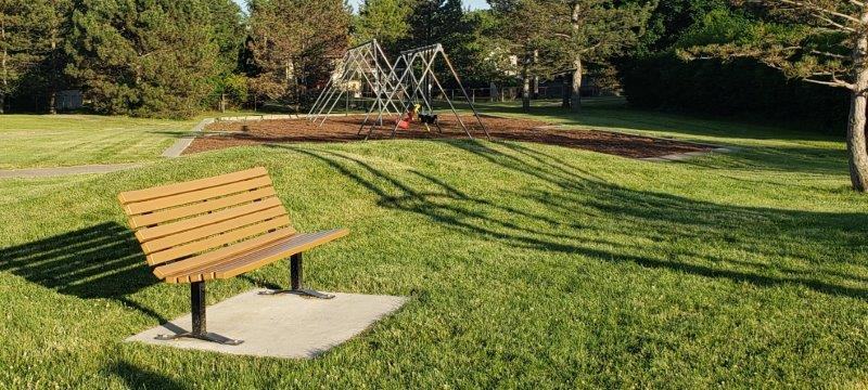 one bench by the play structure