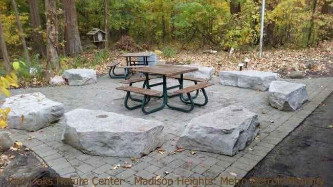 picnic tables at Red Oaks Nature Center