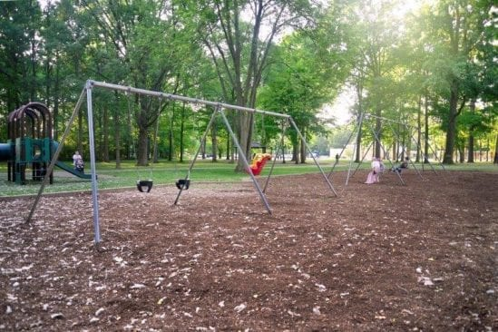 swings at Robinwood Park in Troy