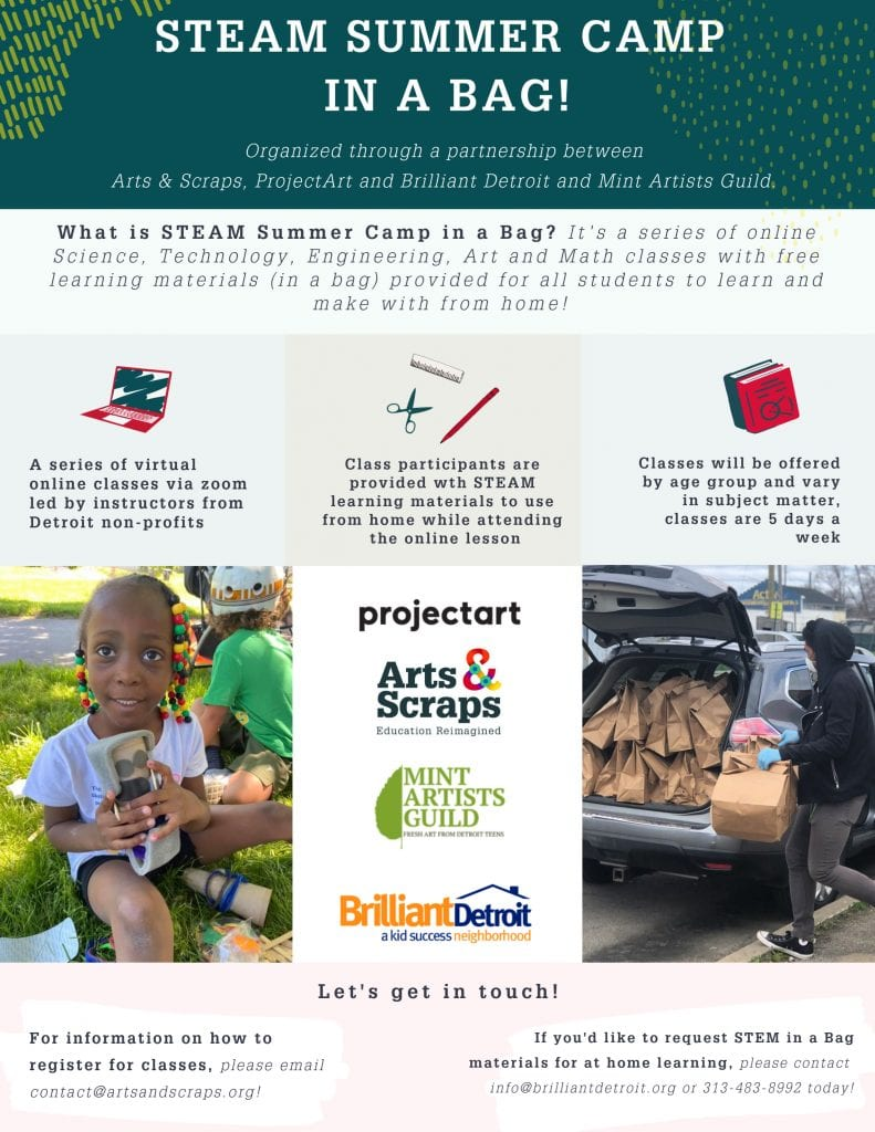 Four nonprofits join to provide the community with STEAM Summer Camp in a Bag, free online classes and educational materials for Detroit families!