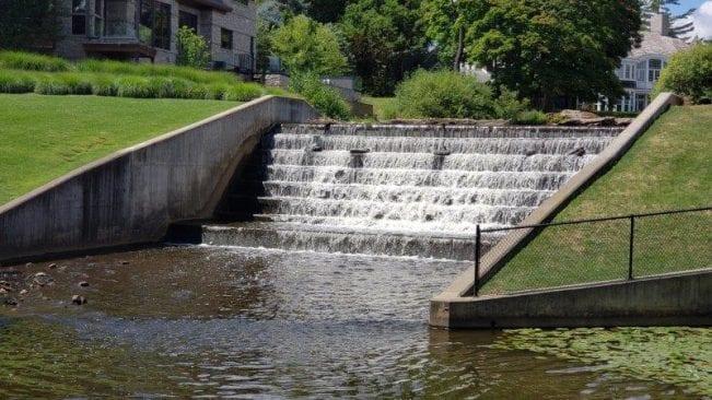 man-made waterfalls at Lower Balwin Park on Quarton Lake