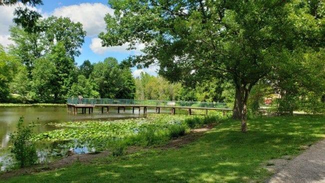 Fishing pier at Lower Balwin Park on Quarton Lake