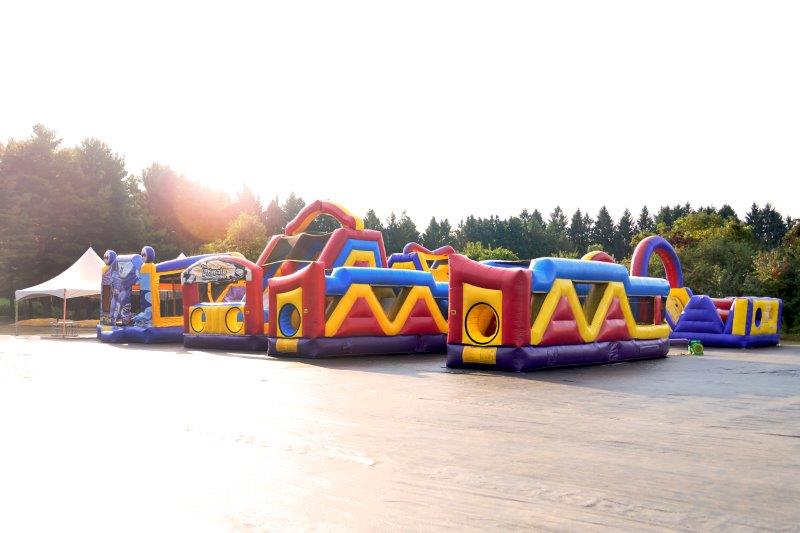 Bounce houses and obstacle courses.