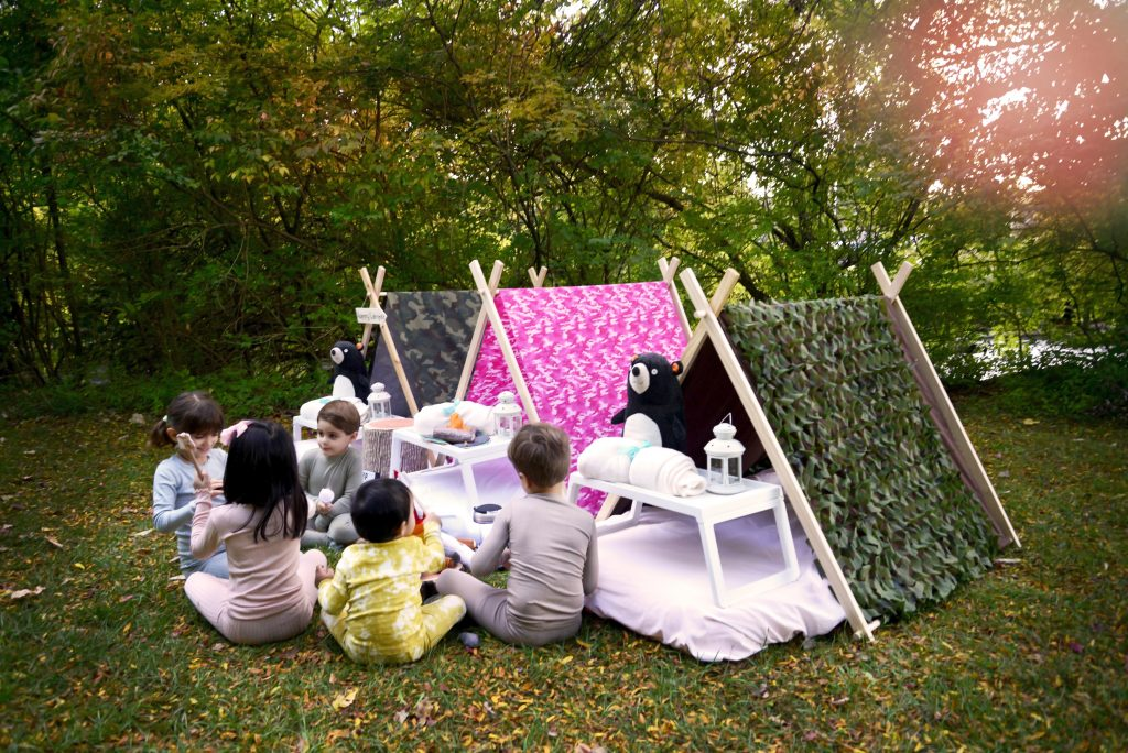 camping tent party theme