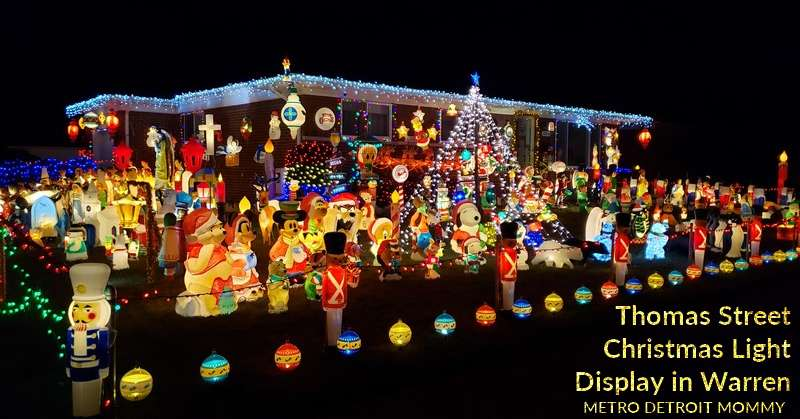Thomas Street in Warren, 100's of illuminated plastic Christmas decorations in Macomb County