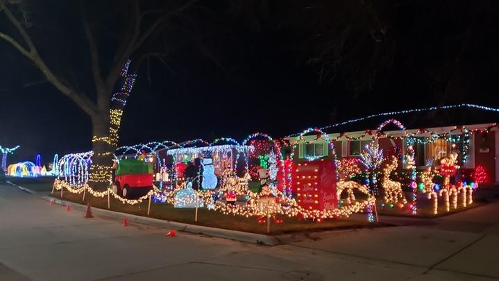 Neighborhood Christmas decorations in Warren, Michigan