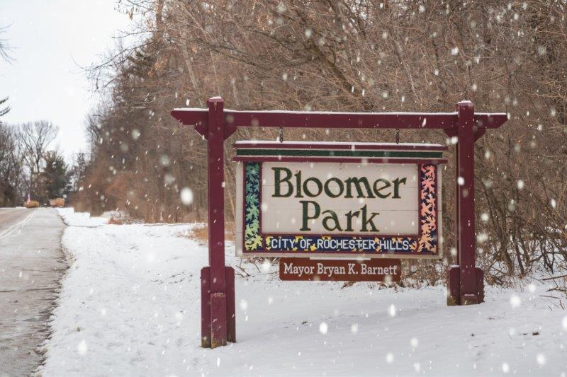 Bloomer Park Snowy Sign