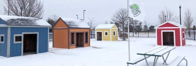 play houses at Civic Center park in Woodhaven