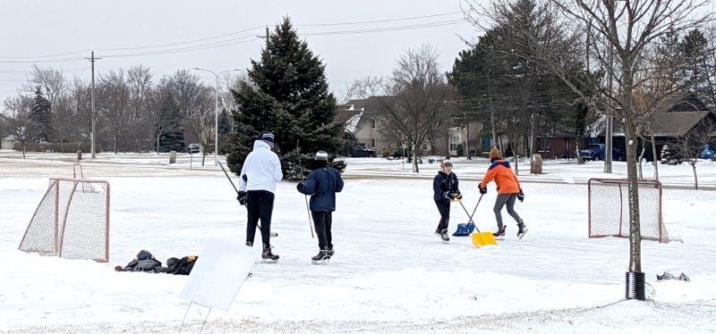 ice hockey at civic center park.