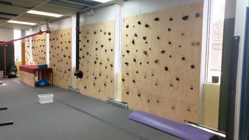 Rock wall in the Warrior Training Grounds at Troy Gymnastics