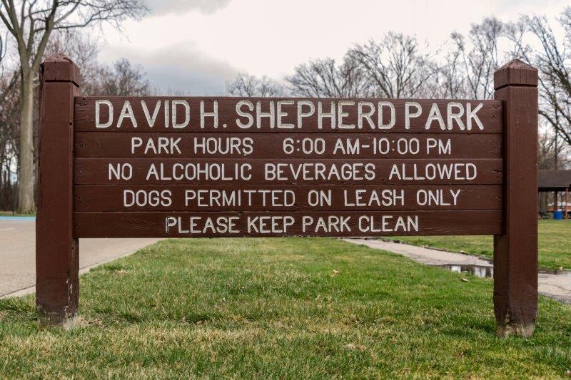 David H. Shepherd Park in Oak Park sign