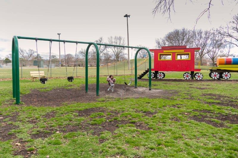swings at David H. Shepherd Park in Oak Park