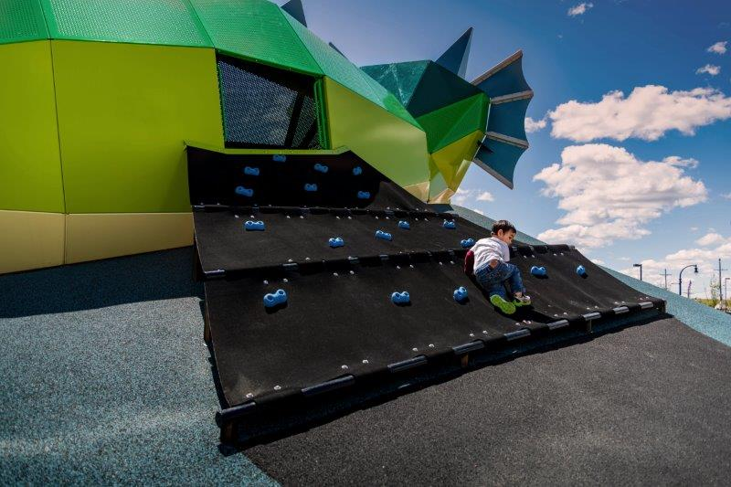 rock climbing wall wings Playful Dragon Playground Pocket Park in Orion Township