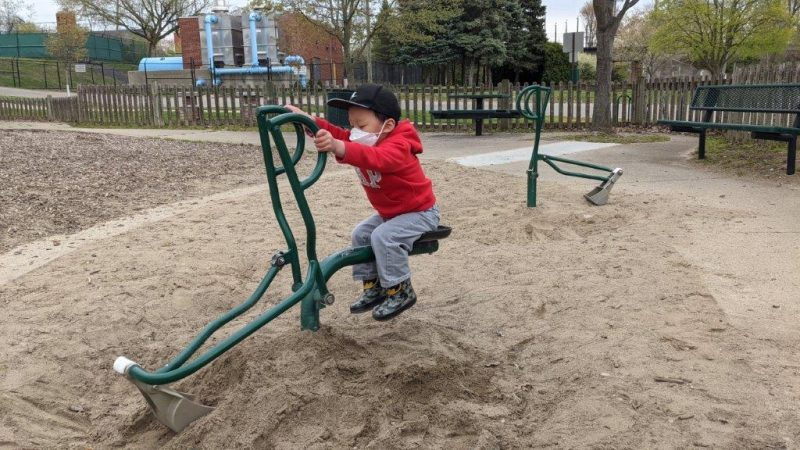 sand digger at the park in Milford