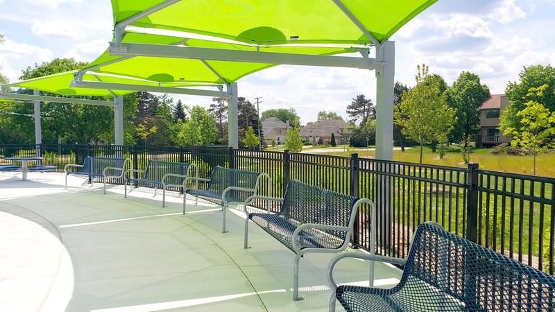Lily Pad Springs Splash Pad shaded seating