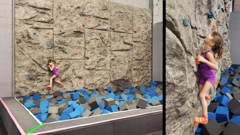 Rock Wall at Sky Zone in Canton